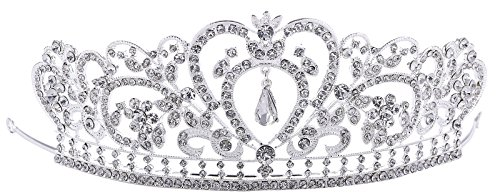 YoungLove Women's Elegant Rhinestone Wedding Bridal Tiara Crown, Top Double (Fancy Double Heart)