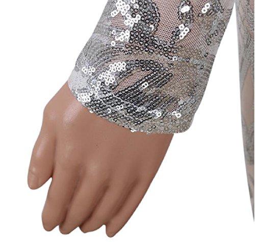 Forma Prospettiva Donne In Delle Lunga Vestito Manica Argento Sottile Paillettes Di Comodi Bodycon 1q7TxBIT