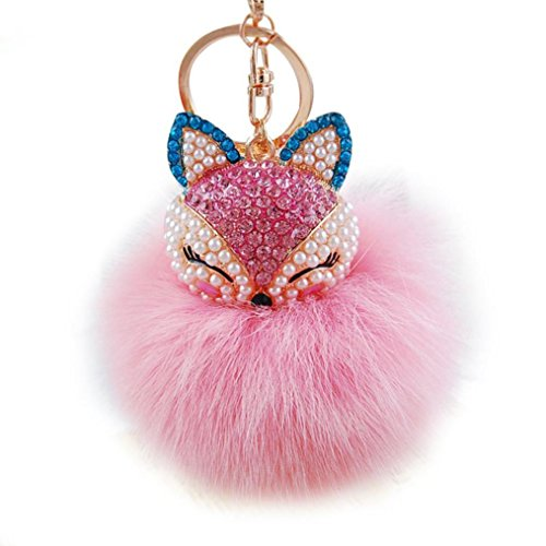 Tenworld Real Fox Fur Ball with Artificial Fox Head Inlay Pearl Rhinestone Key Chain for Womens Bag or Cellphone (Pink)