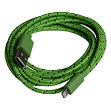 Textile braided 3 meter charging cable data cable USB charging cable -iOS9 compatible- for Apple iPhone SE, 6s / 6s Plus / 6 / 6 Plus / 5 / 5S / 5C, iPad 4 / mini / 5 Air, Pro, iPod Touch 5G, iPod Nano 7G / green of OKCS