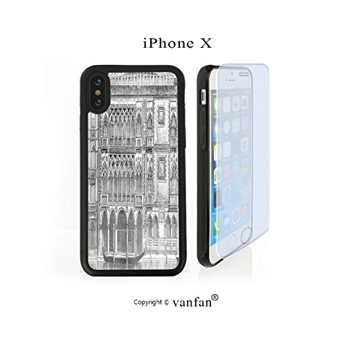 iPhone X Case, vanfan iphone X/10 Case-ry Engraving of Grand Canal Venice Monument Landmar(black) Design Hard PC Back Protective Cover Skin Case For Apple iphone X-iPhone X Screen Protector Gift - Venice Engraving