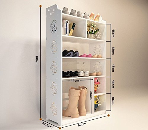 Met Life   Wpc Multipurpose Shoe Rack   Book Shelf L23 5 X W9 7  X H41 7  6 Tier  Tall  Multi Compartment  Environmental Friendly Material   White