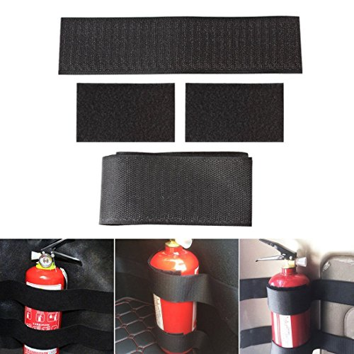 Fire Extinguisher Car Trunk Holder, Universal Strap Down Design, 5 piece velcro tie-down bracket-style kit, by Jecr