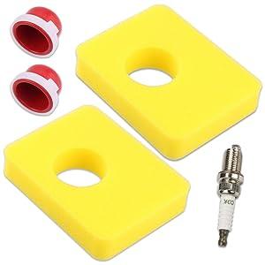 Kaymon 799579 Air Filter for Briggs & Stratton 08P502 09P602 09P702 300E 450E 500E Series Engine Lawn Mower Replace 4248 5434 594281 with Primer Bulb Spark Plug