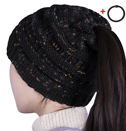 Sierry Womens Confetti Knit Beanie Hat, Soft Stretch Cable Hat With Ponytail Hole Pattern - Thick Soft Warm Winter Hat - CC Style (Knitted Beanie Hat Pattern)