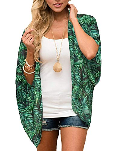 TRALOOK Womens Kimono Cardigan Sheer Chiffon Cover up Floral Print Capes Loose Blouse Tops Cover ups