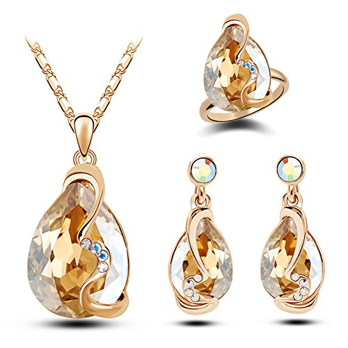 Paxuan Womens Silver Gold Plated Teardrop White Champagne Crystal Wedding Bridal Jewelry Set Teardrop Pendant Necklace Drop Dangle Earrings Wedding Ring Set (Champagne)