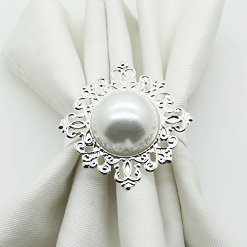 (AngHui ShiPin 12pcs Pearl Napkin Ring Serviette Weddings and Hotel supplies for Christmas Table)