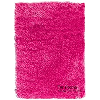 Amazon Com Faux Sheepskin Area Rug 8 X11 Hot Pink