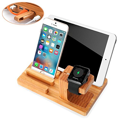 Single Watch Stand - Apple Watch Stand,Phone Stand,Ptuna Bamboo Wood Charging for iPhone,Smart Phone,Apple Watch (Bamboo Wood-4 Ports)