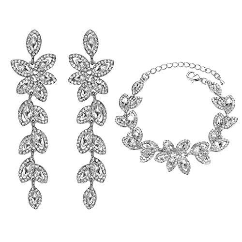 mecresh Bride Jewelry Set Crystal Floral Leaf Crawler Chandelier Dangle Earring Bracelet Wedding Prom Silver