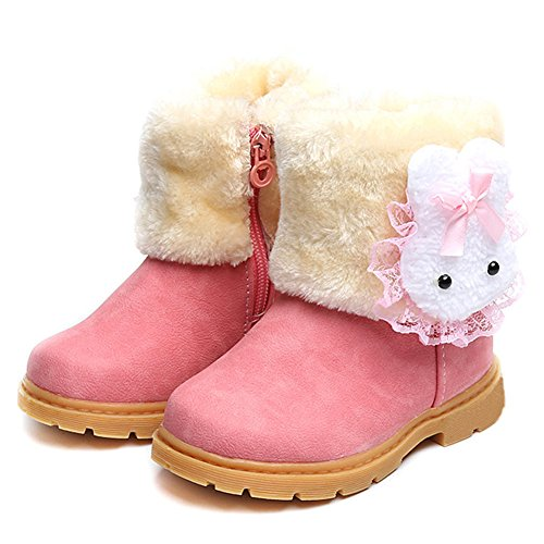 LUUB Adorable Bunny Kid Boots Warm For Children Girls Winter Snow Shoes Fashion (Toddler/Little Kids) DTX02,Pink,23