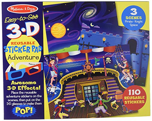 - Melissa & Doug Easy-to-See 3-D Sticker Pad: Pirate, Knight, and Space - 110 Reusable Stickers, 3-D Glasses