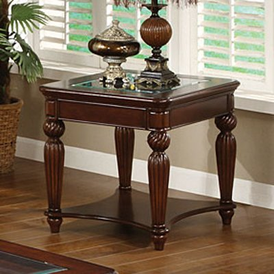 247SHOPATHOME IDF-4390E End-Tables, Walnut - Top Carved End Table