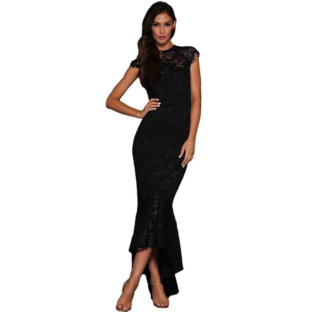 Black Elegant Women's Dress Womens Floral Lace Short Sleeve Formal Party Dress for Evening, Wedding,Prom Women's Dress Bodikon Dress (color   White, Size   M)