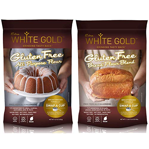 Extra White Gold Gluten Free Flour Blends Variety Pack - For Baking Cakes & Bread - [Kosher] [Gluten Free] [Vegan] [Soy Free] [Nut Free] [Dairy Free] (2 pack)