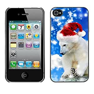 LASTONE PHONE CASE / Slim Protector Hard Shell Cover Case for Apple Iphone 4 / 4S / Polar Bear Winter Santa Hat Christmas Snow