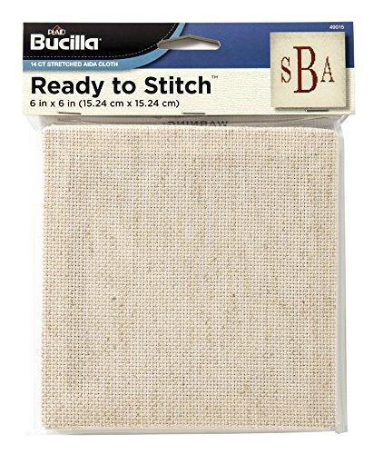 Bucilla Ready To Stitch Aida Cloth, 6 by 6-Inch, 49015 Natural