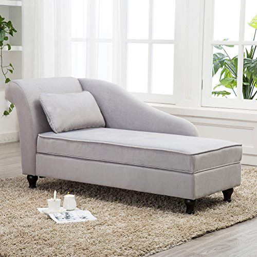 Modern Chaise Lounge Open Fold Spa Sofa Long Lounger for Bedroom, Office, Living Room with Storage (Gray Chaise Lounge)