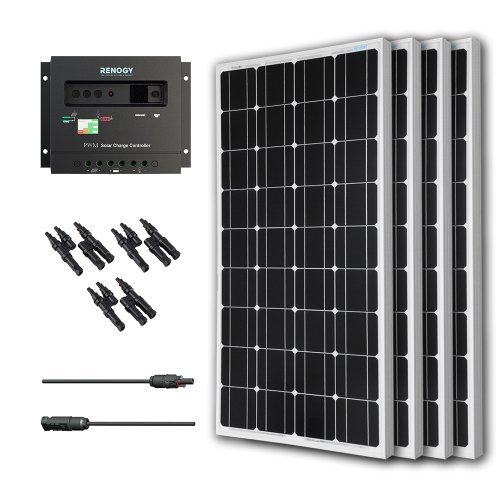 (Renogy 400W Monocrystalline Bundle Solar Panel Kit with 4 packs 100W Solar Panels, Wanderer Li 30A PWM Charge Controller, Renogy 9in MC4 Adaptor Kit and Solar MC4 Branch Connectors MMF+FFM)