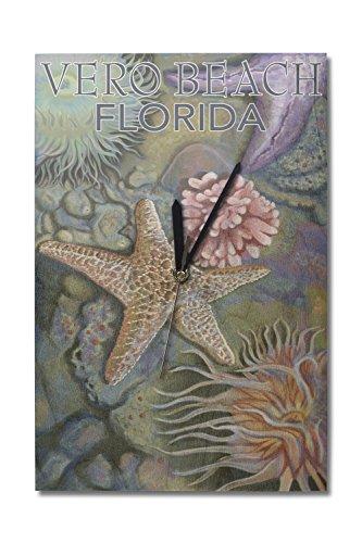 - Lantern Press Vero Beach, Florida - Tidepools (10x15 Wood Wall Clock, Decor Ready to Hang)