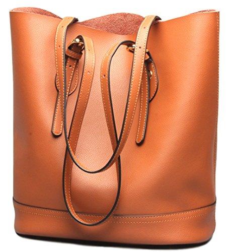 Leather Bucket Handbag - 4