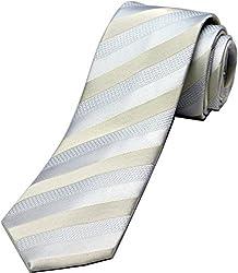 Zarrano Skinny Tie 100% Silk Woven White Classic Stripe Tie