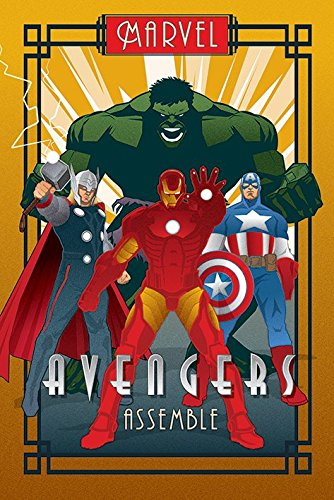 The Avengers - Marvel Comics Poster (Art Deco Design) (Iron Man, Captain America, Thor & The Hulk) (Size: 24