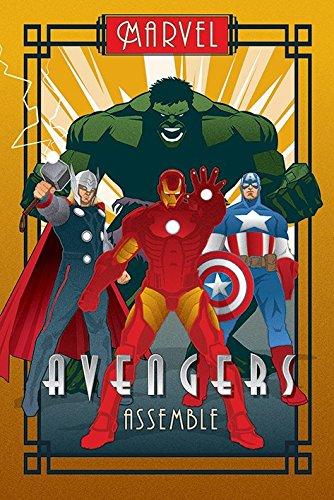 The Avengers - Marvel Comics Poster Art Deco Design Iron Man, Captain America, Thor & The Hulk