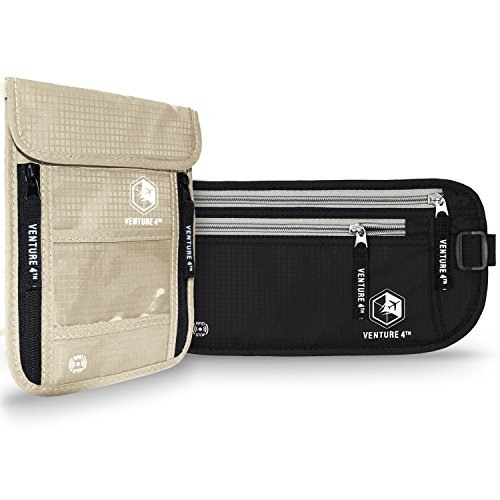 RFID Blocking Money Belt Travel Wallet and Neck Pouch Passport Holder Twin Pack to keep your Cash Safe when Traveling Safety Stash Collection (Beige Neck Pouch + Black Money Belt) by VENTURE 4TH