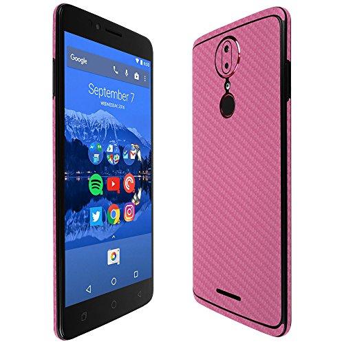 (T-Mobile Revvl Plus Screen Protector + Pink Carbon Fiber Full Body, Skinomi TechSkin Pink Carbon Fiber Skin for T-Mobile Revvl Plus with Anti-Bubble Clear Film Screen)