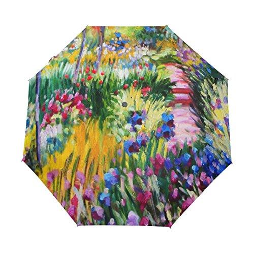 JSTEL Monet Painting Windproof UV Umbrellas Auto Open Close 3 Folding Golf Strong Durable Compact Travel Sun Umbrella, Portable Lightweight Easy Carrying