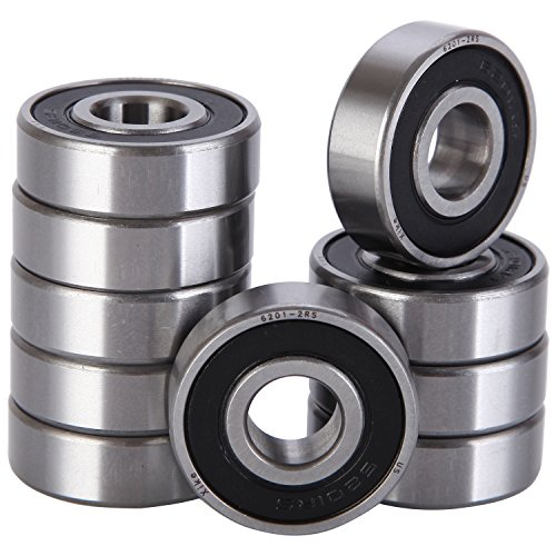 10 Pack 6201-2RS Bearings 12x32x10mm, Stable Performance and Cost-Effective, Double Seal / Pre-Lubricated / Deep Groove Ball Bearings.