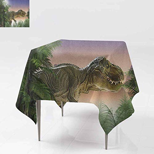 DUCKIL Oil-Proof and Leak-Proof Tablecloth Dinosaur in The Jungle Trees Forest Nature Woods Scary Predator Violence Washable Tablecloth W60 xL60 Green Blue Peach]()