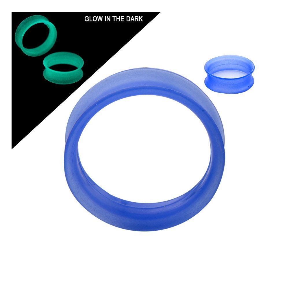 New Super Thin Walled Glow-in-The-Dark Silicone Double Flared Tunnels Pair - (00 Gauge (10.0mm), Blue)