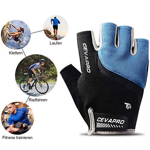 Yobenki Fahrradhandschuhe Halbfinger Fitness Handschuhe Herren Damen Gel Stoßdämpfung Atmungsaktiv Rutschfestes Mountainbike MTB Radsporthandschuhe für Downhill Wandern Fahrrad