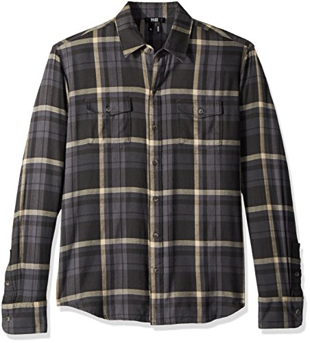 PAIGE Men's Everett Brushed Cotton Button Down Shirt, Balsam Green, M