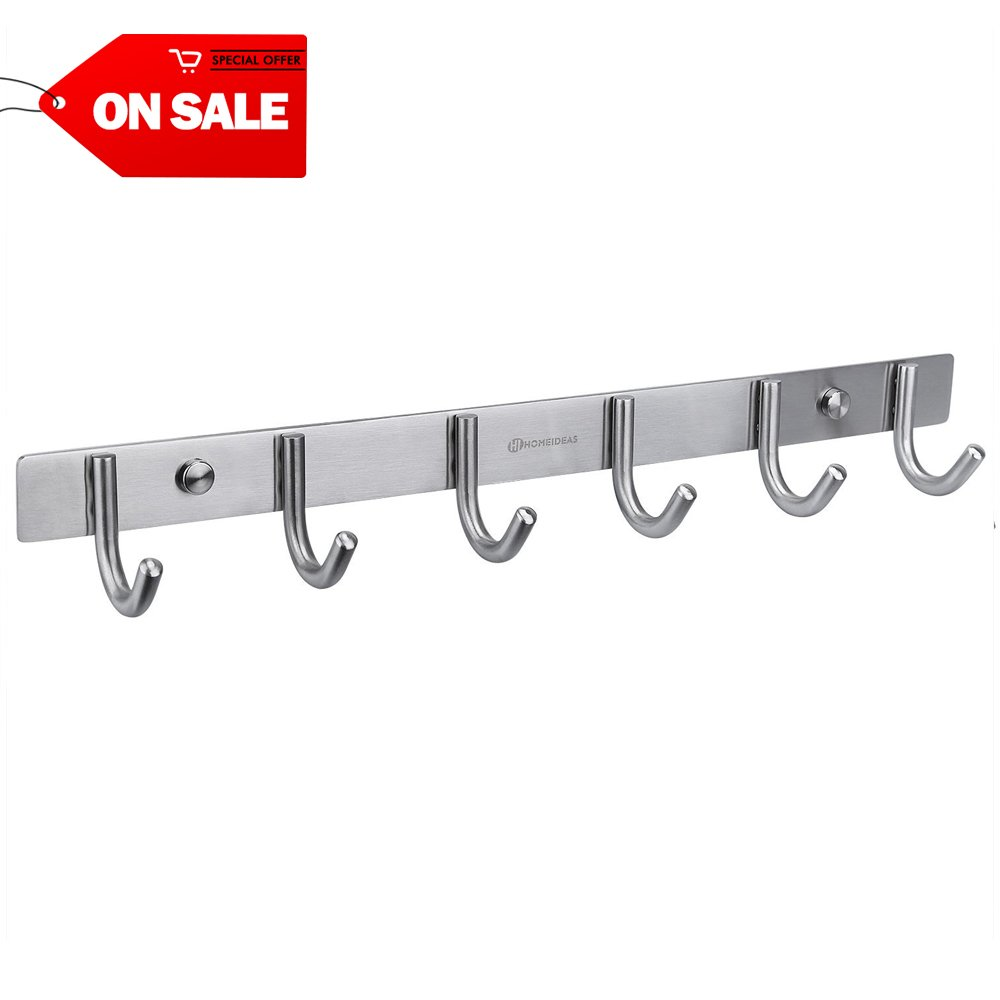 HOMEIDEAS 16-Inch Coat Hooks SUS304 Stainless Steel Wall Mounted Coat Rack Towel Hook with 6 Heavy Duty Hooks,Wall Mount,Brushed Nickel
