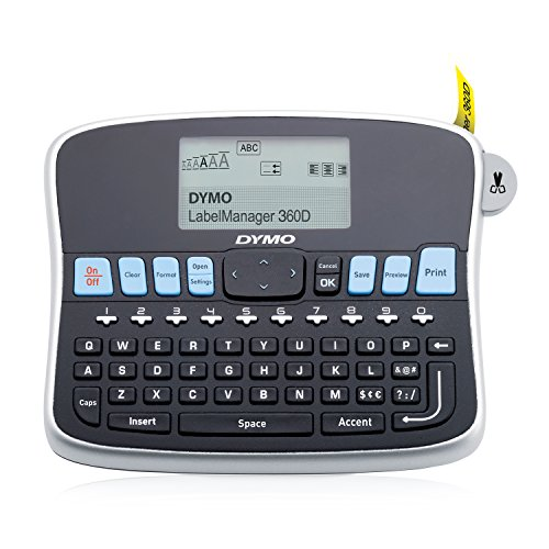 DYMO Desktop Label Maker | LabelManager 360D Rechargeable Hand-Held Label Maker, Easy-to-Use, One-Touch Smart Keys, QWERTY Keyboard, Large Display, for Home & Office Organization (Best Handheld Label Maker Reviews)