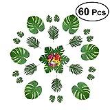 BESTOYARD 60pcs Artificial Tropical Monstera Leaves Fake Palm Leaves Hibiscus Flowers Hawaiian Luau Jungle Beach Party Decorations