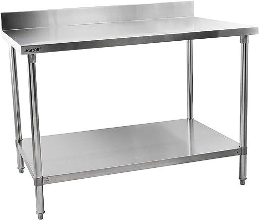 iMettos - Mesa de acero inoxidable con salpicadero de 1500 mm de ...