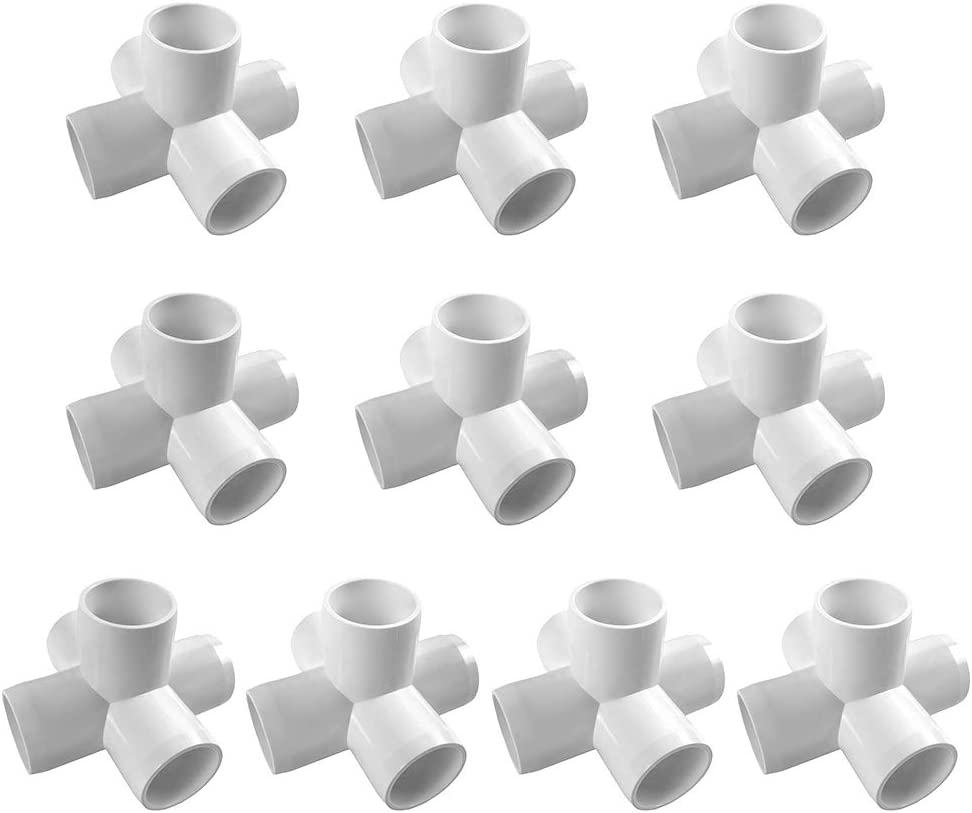 "QWORK 5 Way 3/4"" Tee PVC Fitting, 10 pack White PVC Elbow Fittings, Ideal for Build Heavy Duty PVC Furniture"