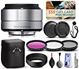 Sigma 30mm F2.8 DN Silver Lens for Panasonic/Olympus Micro Four Thirds (33S963) includes 3 Piece Filter Set (UV-CPL-FLD) + Deluxe Cleaning Kit + Air Dust Blower + Cap Keeper Prints