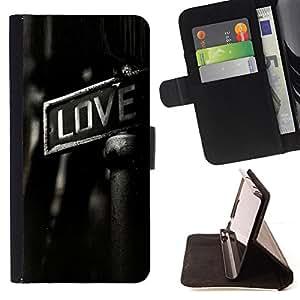 BullDog Case - FOR/Apple Iphone 5 / 5S / - / GRITTY LOVE /- Monedero de cuero de la PU Llevar cubierta de la caja con el ID Credit Card Slots Flip funda de cuer