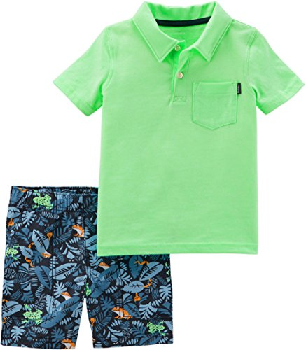 Carters Baby Boys Polo Frog Leaf Shorts Set 6 Months Green/Blue/Orange