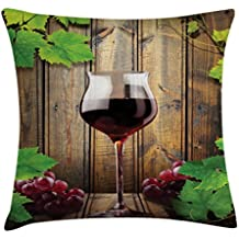 Lunarable Winery Throw Pillow Cushion Cover, Wine Glasses and Grapes Rustic Wood Planks Alcoholic Drink Gourmet Taste, Decorative Square Accent Pillow Case, 40 X 40 Inches, Brown Green Burgundy