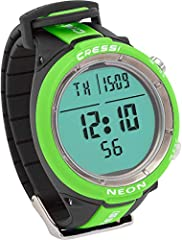"""The Cressi Neon Computer has a diameter of only 1.9"""" (48 mm) and a high contrast display of 1.46"""" (37 mm) with extra-large numbers and easy access menu. It is a scuba diving/apnea watch-computer of extremely reduced dimensions. It is also an ..."""