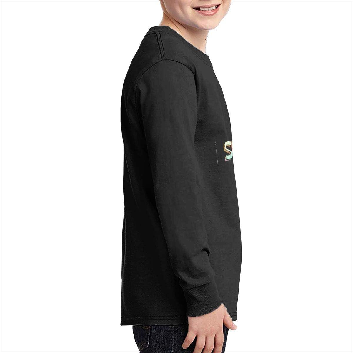 YOILLY Spongebob Time Passing Junior Long Sleeve T-Shirt Boys Long Sleeve Round Neck Graphic Tees Black