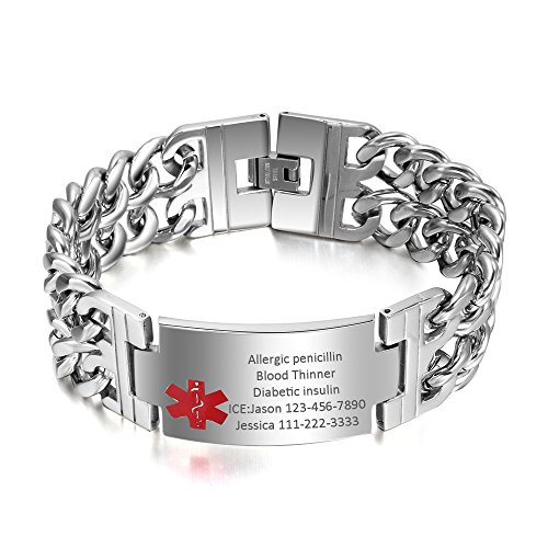 VNOX Free Engraving-Men's Medical Alert ID Wide Large Bracelet Stainless Steel Wrist Link ()