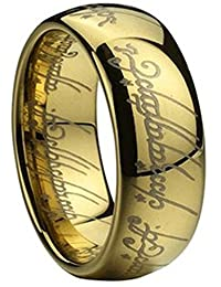 Men's High Polished Golden Tungsten Carbide Lettered Band Lord Ring,Size 5-12